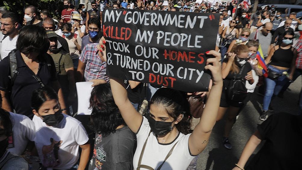 Masivamente los libaneses salieron a la calle a pedir justicia. (Foto AFP)